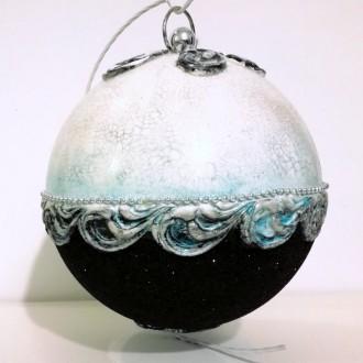 Bombka barokowa z czarnym brokatem