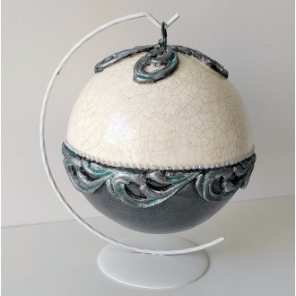 Bombka barokowa biało-szara
