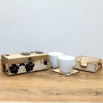 Zestaw - herbaciarka - pudełko na herbatę i...
