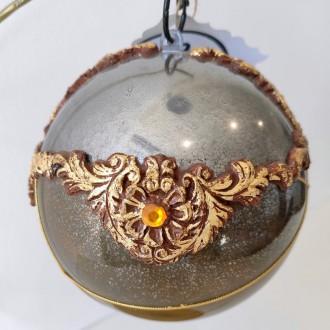 Bombka akrylowa glamour złota z nitkami